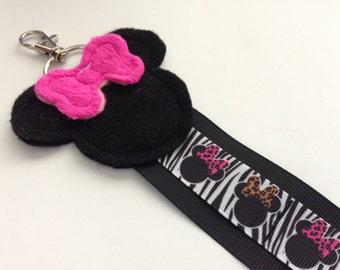 One Zebra Leopard Minnie Mouse Cheer Bow Hair Clip Holder