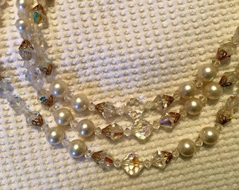 VINTAGE Pearl and  Aurora Borealis Triple Strand Necklace