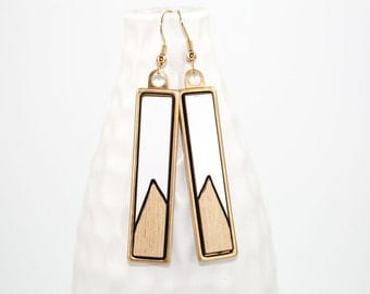 Modern Geometric Dangle Earrings - Two-Tone Laminate - Laser Cut Offset Triangle Design in Brass Setting (Natural Wood & Glossy White)