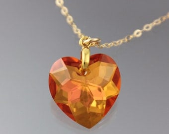 Astral Pink Heart Gold Necklace - fiery orange pink Swarovski crystal heart pendant on 14k gold filled chain- free shipping USA