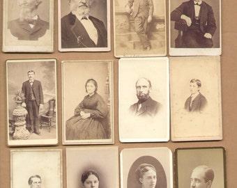 12 Different Antique CDV Photographs 1860-1880 Men Women Children  Historic Lot69