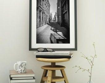 Black and White Alley Ann Arbor Fine Art Photograph on Metallic Paper