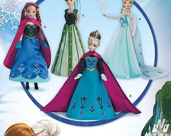 """Simplicity Pattern SO734 for 11-1/2"""" Doll Frozen Costumes"""