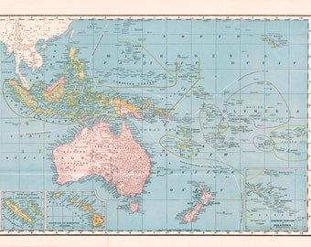 1895 Antique Map of Oceania - Australia - Polynesia - South Pacific - Pacific Ocean