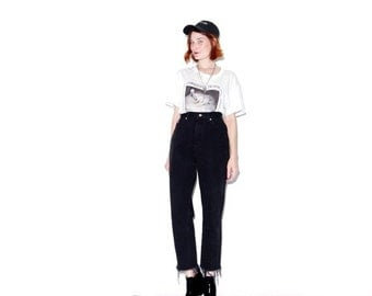 OMG HALF OFF black jeans ripped jeans medium 29 waist / 90s grunge mom jeans vintage high waisted jeans boyfriend jeans distressed jeans