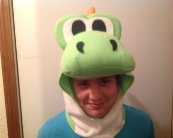 new fleece halloween dinosaur head only costume size XL 16-adult with YOSHI EGG goodie bag super mario brothers  #2