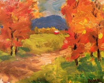 Autumn Road Landscape Painting, orange and yellow country road scene in fall, Russ Potak