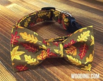 Fall Dog Collar Bowtie Set - Fall Dog Collar - Dog Bow Tie Collar Set - Dog Collar Bow Tie Set - Fall Leaves Dog Bowtie Set - Dog Bowtie