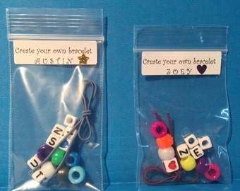 Kids Party Favor - Child Bracelet -  Make Your Own, Easy to Make, Jewelry Kit, Alphabet, Play Date, Do It Yourself