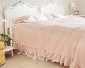 LILY...Throw bed spread with frayed ruffle.. 100% linen