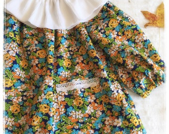 Girls, Tunic, Blouse, Top, Peasant mini dress, nany and sky blue, yellow, orange, flowers , long sleeves, classic, timeless, party outfit
