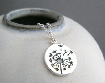 small sterling silver dandelion necklace. flower seed nature pendant floral charm simple delicate dainty everyday jewelry gift for her 5/8""