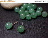 FALL DEALS SALE Rare Natural Genuine Half Drilled Green Aventurine Quartz from Brazil Round Beads for Earrings or Pendants - 8mm - 4 pieces