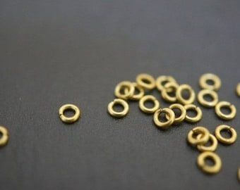 Popular Size Small Sturdy Little Raw Brass Round Jump Rings - 4mm x 0.5mm Thick -100 pcs