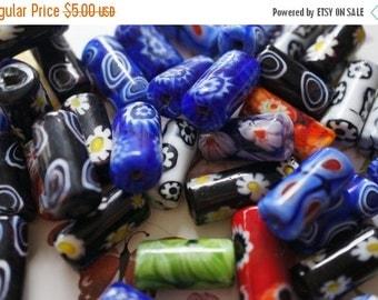 SUMMER SALE Assorted Millifiori Focal Beads - 3 pcs