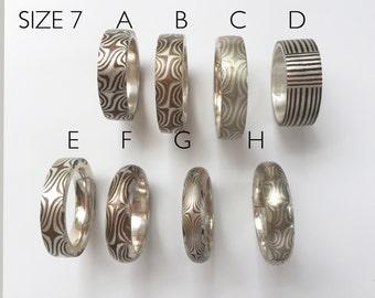 Mokume Gane Ring size 7, 4-5 mm Mixed metals