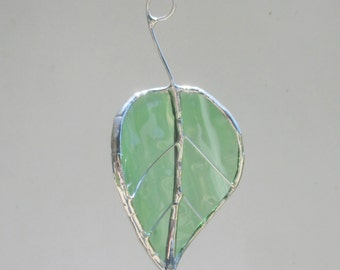 Green Spotted Birch Leaf - Upcycled Stained Glass Suncatcher