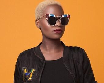 African print Cateye sunglasses