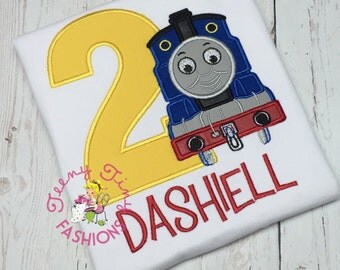 Train Birthday Shirt ~ 2nd Birthday Shirt ~ Railroad Shirt ~ Thomas Birthday Shirt ~ Blue Train ~ RR Birthday Shirt ~ Trains ~ Train tracks