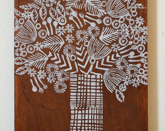 Reclaimed Wood-Hand Stamped Tree onto reclaimed wood-upcycle wall art, repurposed wood