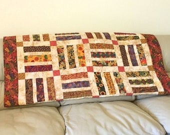 Autumn Leaves Lap Quilt or Sofa Throw in Brown, Rust and Green, Quilted Throw for Fall, Quiltsy Handmade