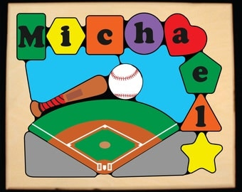 Personalized Name Baseball Sport Theme Puzzle.  Teaching their name with this puzzle is educational fun for your preschool toddler children.