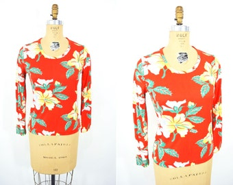 1970s dress vintage 70s red hibiscus flower print Hawaiian tiki long sleeve top XS/S