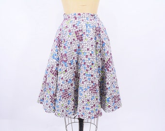 """1950s skirt vintage 50s quilted square novelty print circle skirt S W 25"""""""