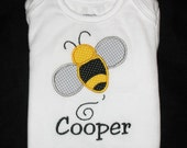Custom Personalized Applique BUMBLE BEE and NAME Bodysuit or Shirt  - Yellow, Black, and Gray or Lavender