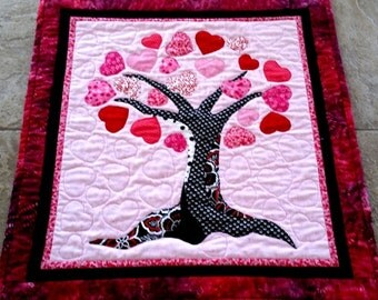 Art Quilt Heart Quilt Sweetheart  Wall Hanging Quilted Hearts Tree Red Pink Black White