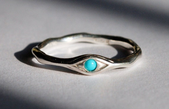 Silver and Persian Turquoise Eye Ring
