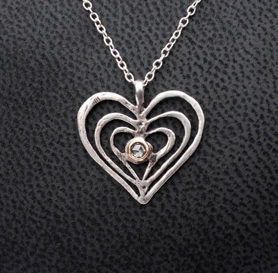 Trinity Heart Silver, Gold & Diamond Heart Charm Necklace