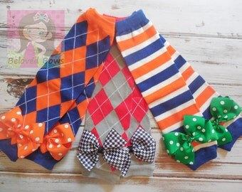 Team Inspired Leg Warmers with Matching Bows for Baby Toddler Girl--Choose One Pair