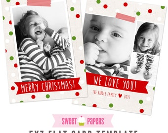 INSTANT DOWNLOAD Christmas Photocard Template Dotty Christmas - by Sweet Papers