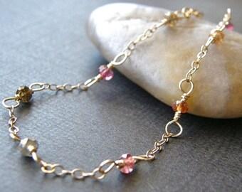 Summer Sale Tundra Sapphire Bracelet, Dainty Gold Chain Bracelet, Simple Gold Bracelet, Minimalist Bracelet
