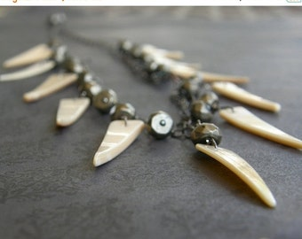 Summer Sale Shell and Pyrite Tribal Statement Necklace, Tusk Necklace, Cream Fringe Necklace