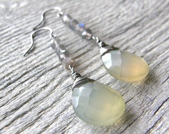 Gold Chalcedony and Labradorite Drop Earrings, OOAK Sterling Silver Gemstone Earrings