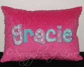 Personalized Name Pillow - Hot Pink and Turquoise Monogrammed Pillow - Pink and Aqua Name Pillow - Personalized Throw Pillow - Minky Pillow