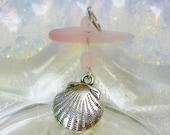 SALE Pink Sea Glass Seashell Charm Pendant