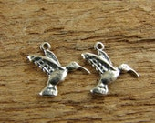 Itty Bitty Little Hummingbirds - Sterling Hummingbird Charms - Artisan Sterling Charms - One Pair - ciblhb