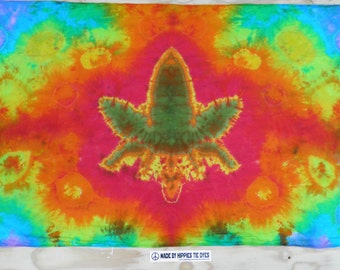 "Cannabis Leaf Tie Dye Tapestry #35 (Dharma Trading Co. Size 44"" x 72"") (A Series of 420)"