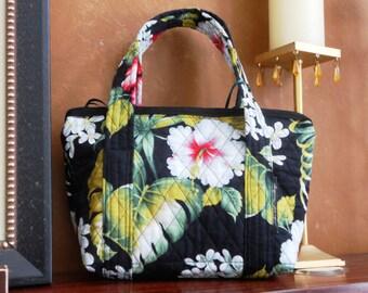 Quilted Hibiscus Flower Bag/Zippered/Handbag/Pocketbook