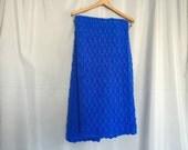 Blue Blanket Vintage Handmade Crochet Knit Cobalt Blue Small Throw