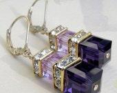 Deep Purple Earrings, Violet Swarovski Crystal, Gold Filled, Modern Wedding Earrings, Purple Bridesmaids Jewelry, Bridal Gifts
