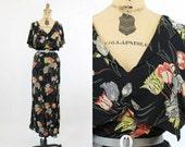 30s Dress Gown Floral Medium Large / 1930s Dress Cape Shoulders / Parrot Tulips Dress