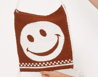 Vintage 70s SMILEY Face Handbag Boho Bag Hippie Handbag NOVELTY Tote Bag HAPPY Face Bag