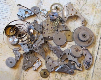 Vintage WATCH PARTS gears - Steampunk parts - a58 Listing is for all the watch parts seen in photos