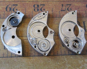 Vintage Antique metal pocket Watch parts - Steampunk - Scrapbooking r41