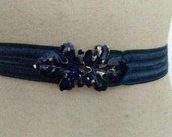 40s BLUE STRETCH Cinch Belt Early 1940s Sz 28 to 34 Waist