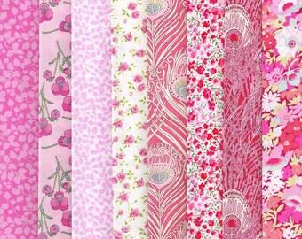 Liberty Tana Lawn Fabrics Pink Selection 770 - 8 Fat Quarter Selection